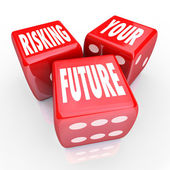 Risking Your Future - Words on Three Red Dice — Stock Photo