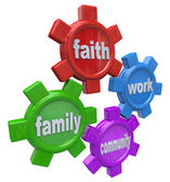 Gears of Life - Balancing Faith Family Work and Community — Stock Photo