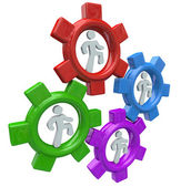 Running in Gears to Power Teamwork and Progress — Stock Photo
