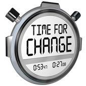 Zeit für veränderung stoppuhr uhr — Stockfoto