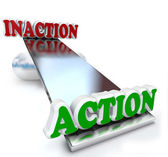 Action Vs Inaction Words on Balance Comparison — Stock Photo