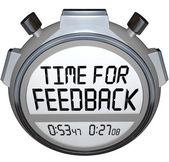コメントを求めるフィードバック言葉ストップウォッチ タイマーのための時間 — ストック写真