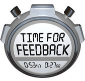 Dags för feedback ord stoppur timer söker kommentarer — Stockfoto