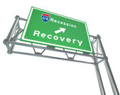 Freeway Sign - Recession Next Exit Recovery — Stok fotoğraf