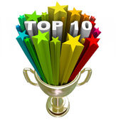 Top Ten Ranking List Showing Best Choices and Quality — Stock Photo