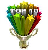 Lista de top 10 ranking mostrando mejores opciones y calidad — Foto de Stock