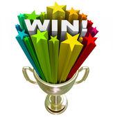 Win Word in Trophy - Burst of Stars Fireworks — Stock Photo