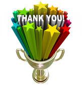 Danke trophäe anerkennung wertschätzung job bemühungen — Stockfoto