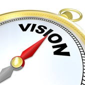 Vision Word on Gold Compass Plan Direction Strategy — Stock Photo