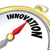 Innovation Gold Compass Points to New Change — Stock Photo