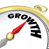 Growth Word Gold Compass Arrow Pointing to Word — Stock Photo