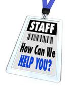 Personeel - hoe kunnen we u - lanyard en badge — Stockfoto