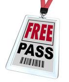 Free Pass - Lanyard and Badge — Stock Photo