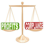 Profits and Compliance in Balance Scale Weighing Words — Stock Photo