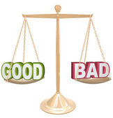 Good vs Bad Words on Scale Weighing Positives vs Negatives — Stock Photo