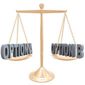 Weighing Your Options - Choices on Scale — Stock Photo