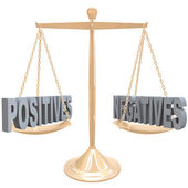 Weighing Positives and Negatives - Choices on Scale — Stock Photo
