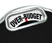 Over-Budget Words on Scale Financial Trouble Debt Deficit — Stock Photo
