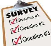 Undersökning ordet checklista urklipp polling kunder feedback — Stockfoto