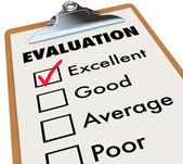 Evaluation Report Card Clipboard Assessment Grades — Stockfoto