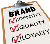 Brand Checklist Identity Quality Loyalty on Clipboard — Stockfoto