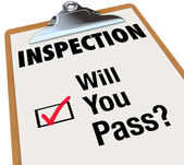 Inspection Checklist Clipboard Will You Pass Words — Stock Photo