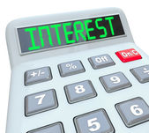 Interest Word Calculator Figure Growth Rate Loan Cost — Stock Photo
