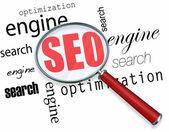 Optimalizace pro vyhledávače - lupa — Stock fotografie