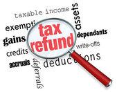 поиск на возврат налога - увеличительное стекло — Стоковое фото