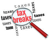 如何查找减税-放大镜 — 图库照片