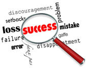 Finding Success Amid Failure - Magnifying Glass — Stock Photo
