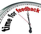 Tid för feedback klocka synpunkter och svar — Stockfoto