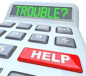 калькулятор слова финансовые проблемы и кнопку справка — Стоковое фото