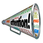 Attention Bullhorn Megaphone Sends Warning Message — Stock Photo