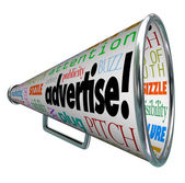 Advertise Bullhorn Megaphone Words of Marketing — Stockfoto