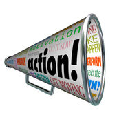 Action Words Bullhorn Megaphone Motivation Mission — Stockfoto