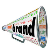 Brand Megaphone Advertising Product Awareness Build Loyalty — Stock Photo
