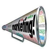 Marketing Bullhorn Megaphone Advertising Sales Message — Stock Photo