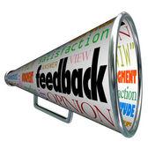 Condivisione di parere feedback megafono con registratore — Foto Stock