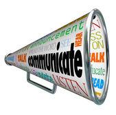 沟通扩音器喊话器传播这个词 — 图库照片