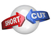 Short Cut Words Around Sphere Shortcut Easy Route — Stock Photo