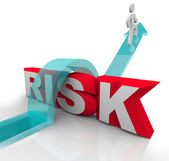 Risk Jumping Over Word Avoiding Danger Hazards — Stock Photo