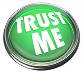 Croyez-moi rond bouton vert honnête réputation digne de confiance — Photo