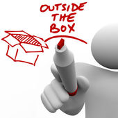 за пределами коробки человек, написание слова маркер — Стоковое фото