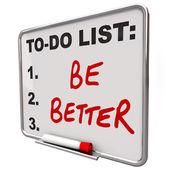 Seznam úkolů být lepší slova suché mazání deska — Stock fotografie
