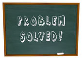 Problem Solved Words Chalkboard Solution — Stock Photo