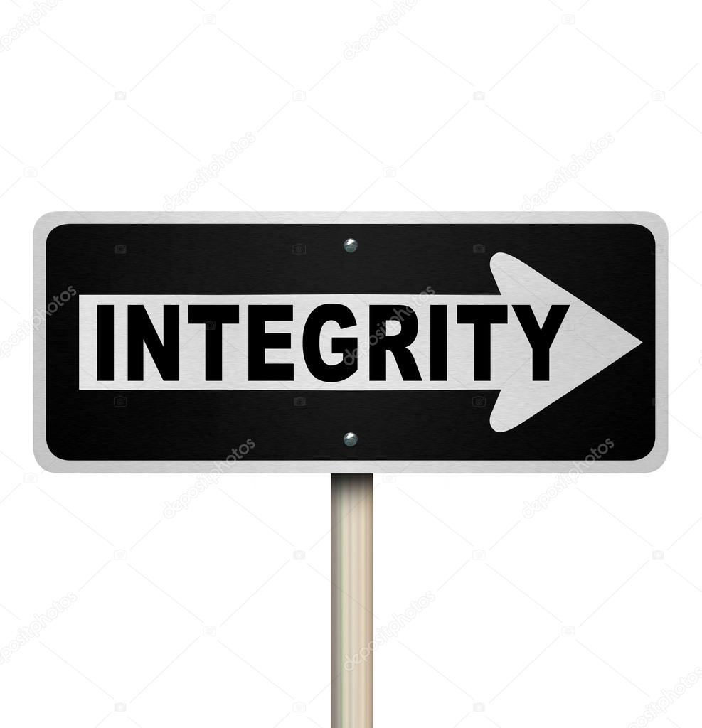 Integrity Word One-Way Street Road Sign — Stock Photo ...