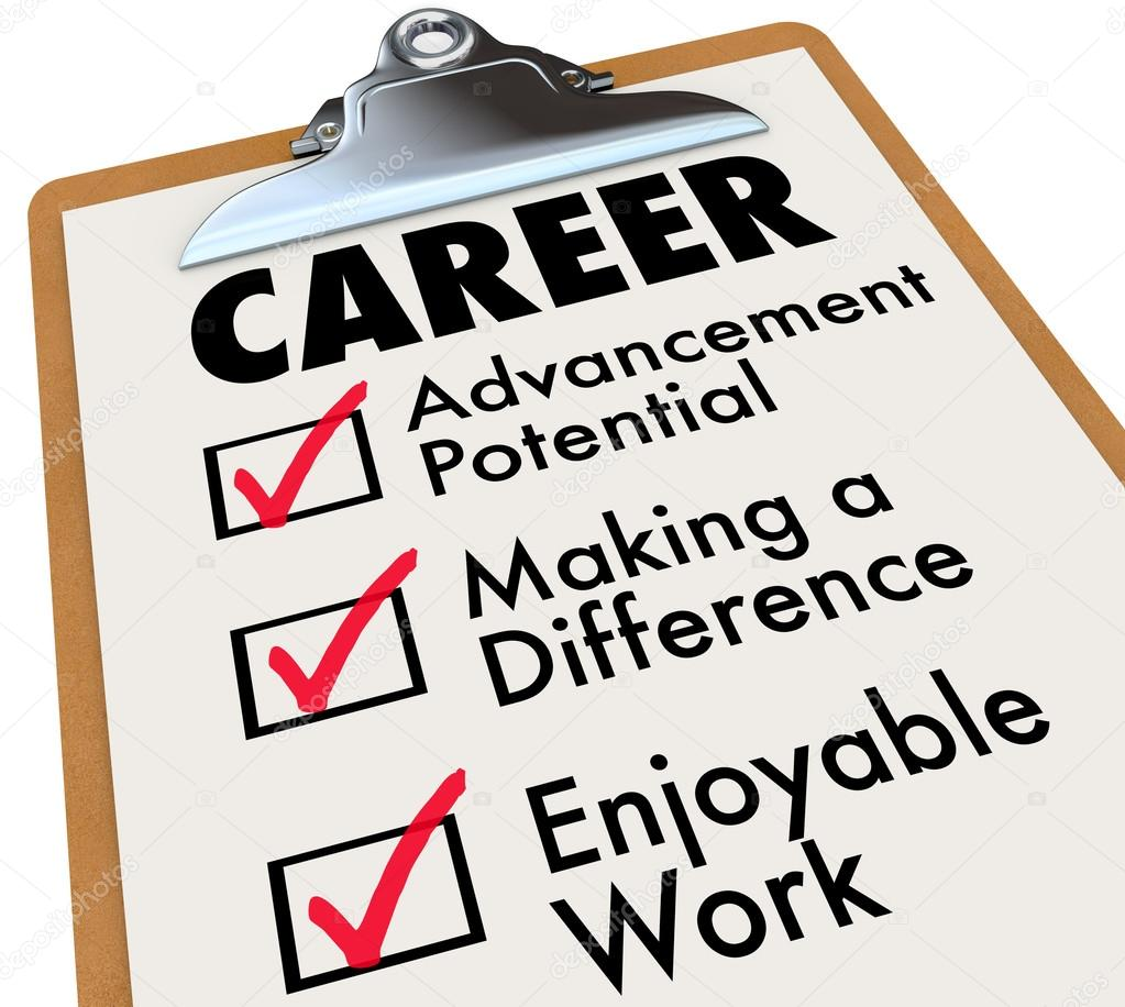 career checklist priorities goals objectives in work profession a checklist on a wooden clipboard the word career and the top priorities for your to achieve in your profession advancement potential