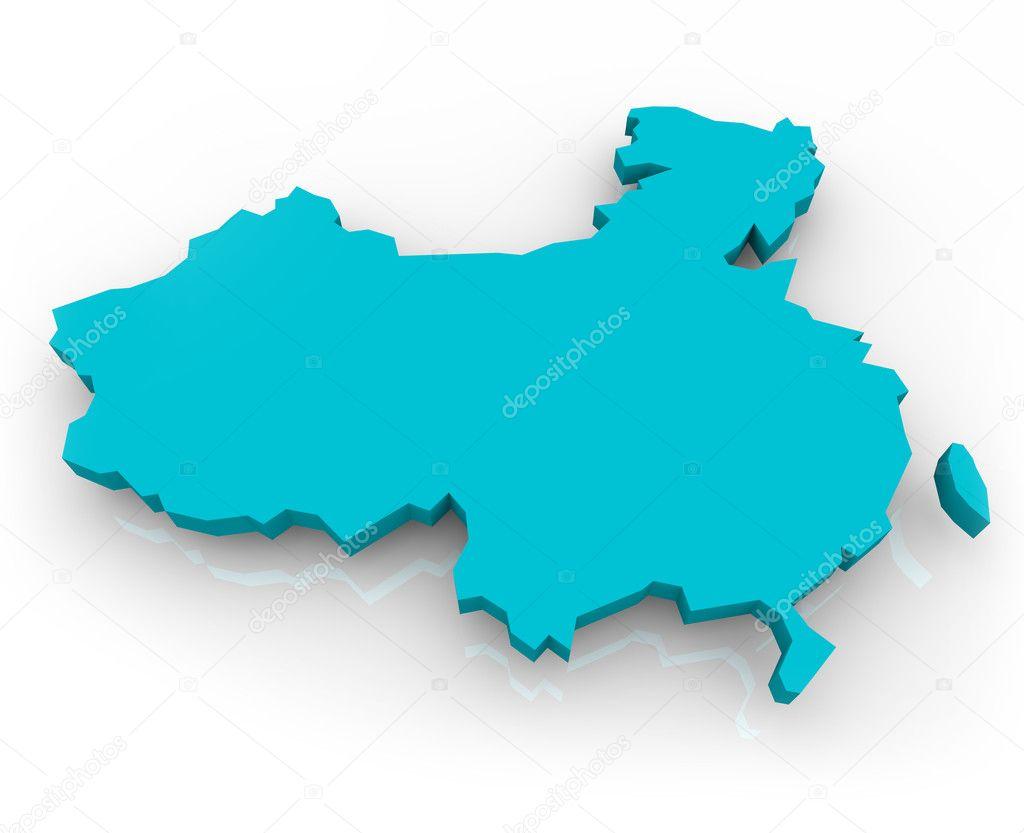 中国地图-蓝色