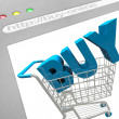 Buy Online - Shopping Cart on Web Screen — Stock Photo